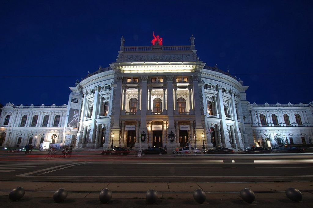 Burgtheater in Vienna night