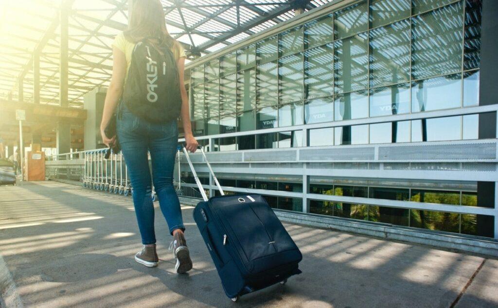 A woman at Vienna airport