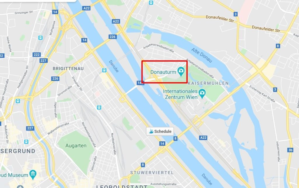 The Donauturm map