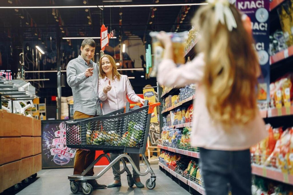 Grocery shopping with family