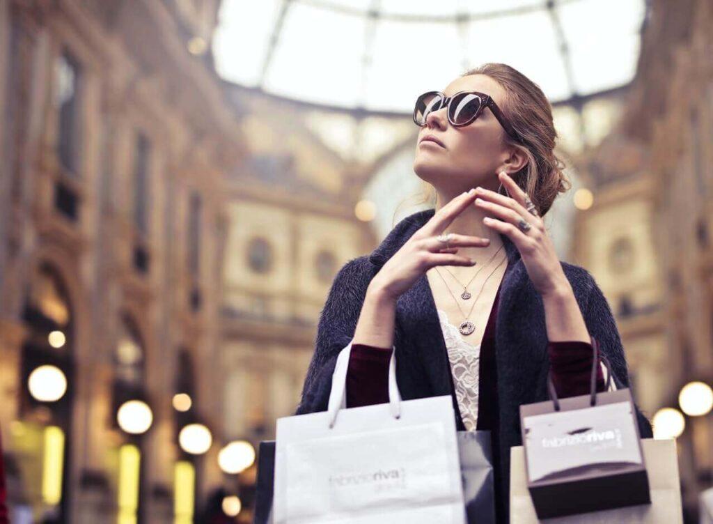 Woman enjoys shopping in Vienna